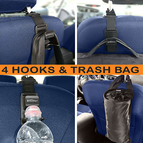 4-car-headrest-hooks-and-trash-bag